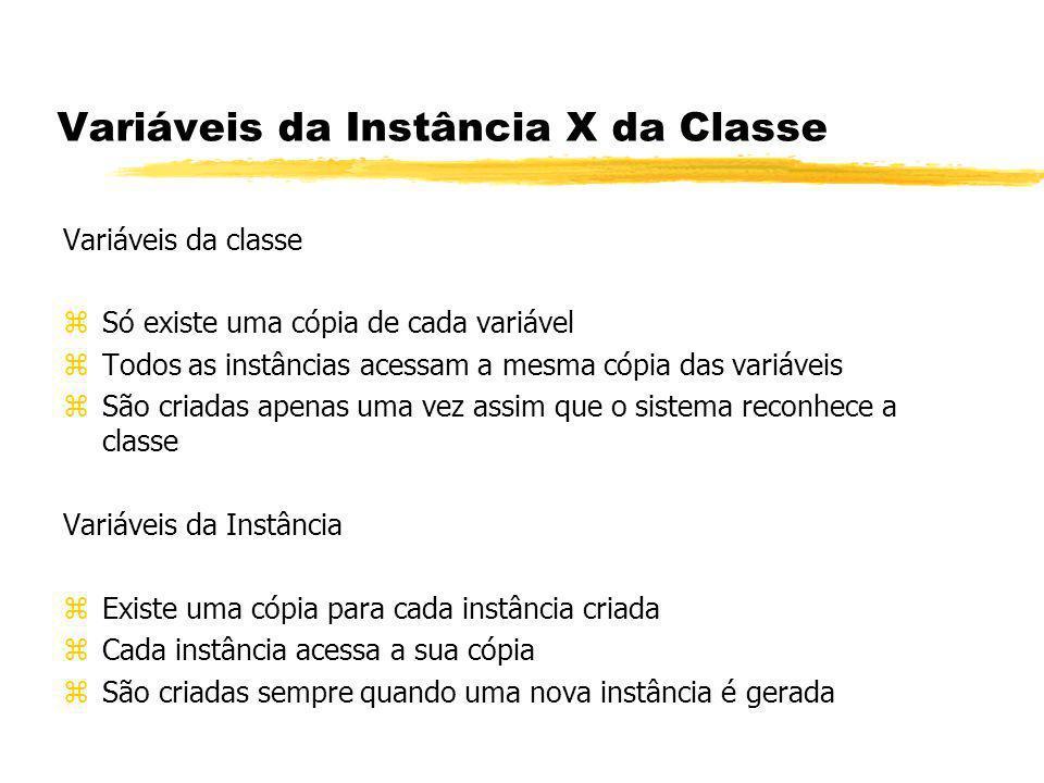 Variáveis da Instância X da Classe