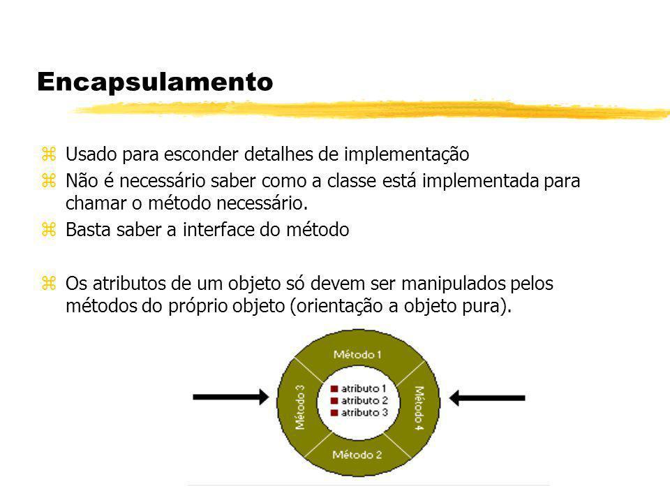 Encapsulamento Usado para esconder detalhes de implementação