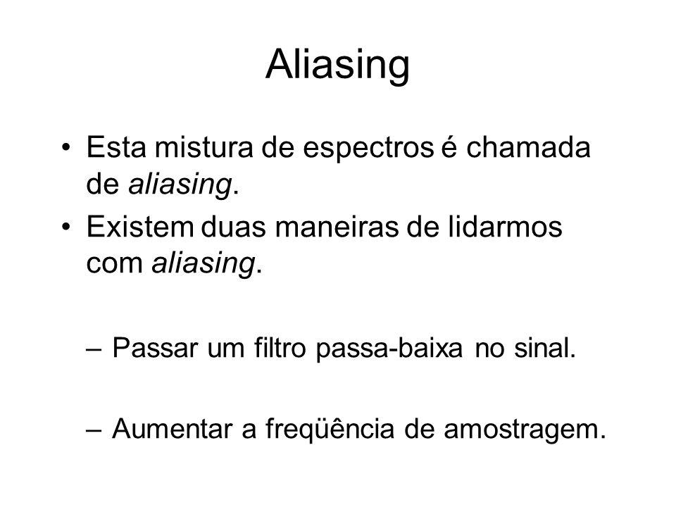 Aliasing Esta mistura de espectros é chamada de aliasing.