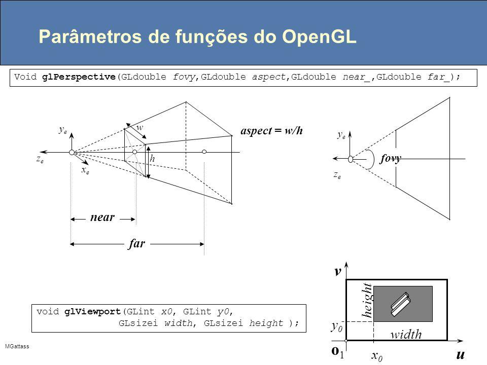 Parâmetros de funções do OpenGL