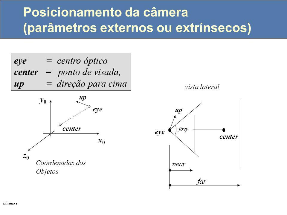 Posicionamento da câmera (parâmetros externos ou extrínsecos)