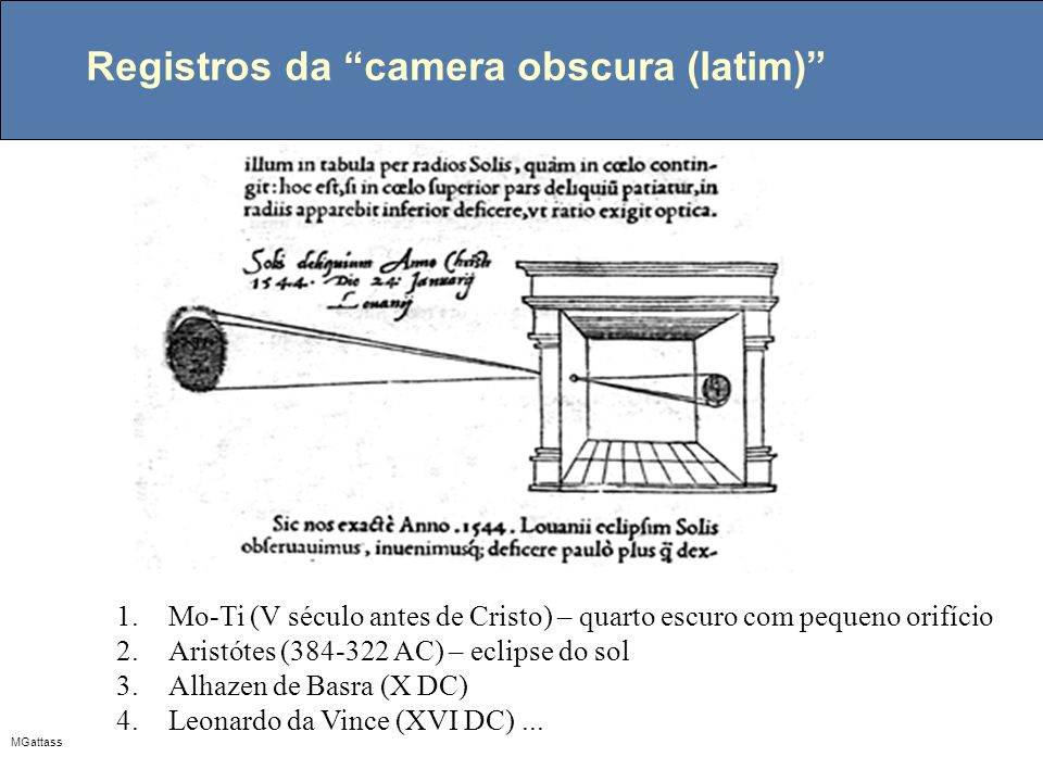 Registros da camera obscura (latim)