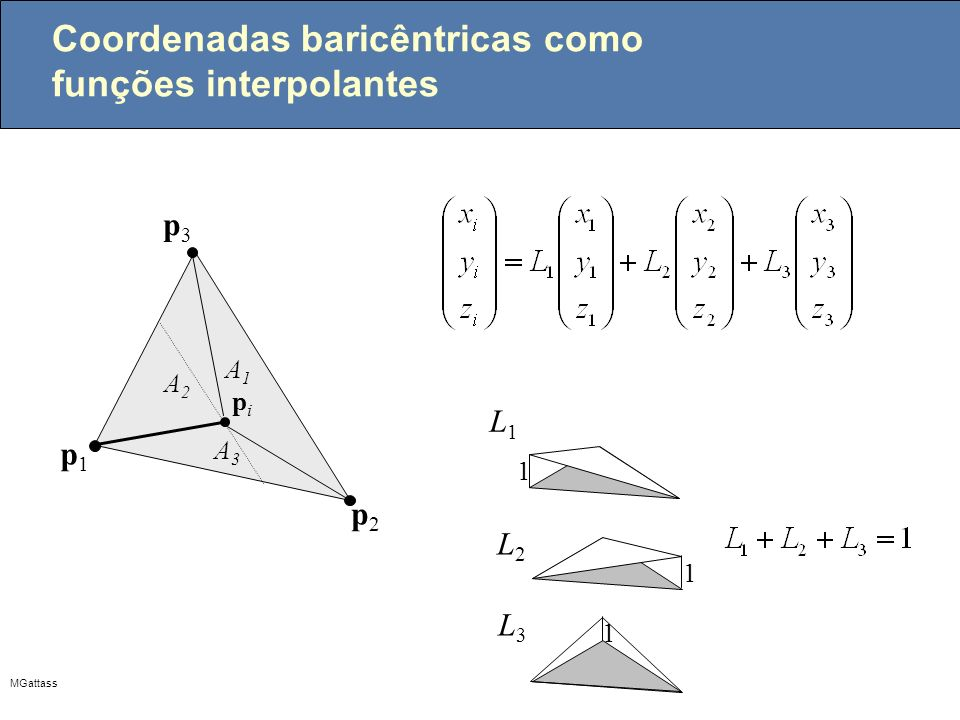 Coordenadas baricêntricas como funções interpolantes