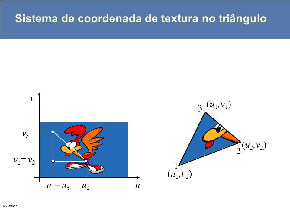 Sistema de coordenada de textura no triângulo
