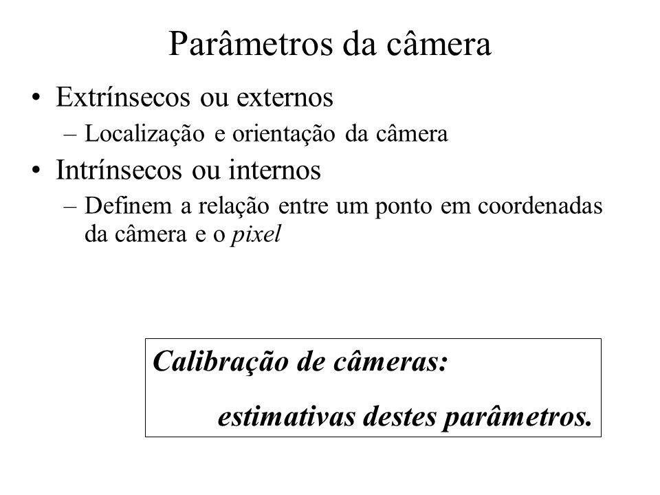 Parâmetros da câmera Calibração de câmeras: