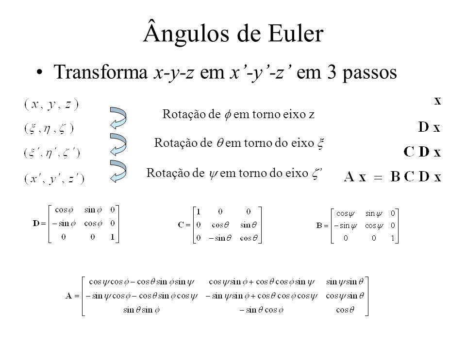 Ângulos de Euler Transforma x-y-z em x'-y'-z' em 3 passos