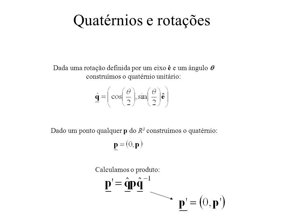 Quatérnios e rotações Dada uma rotação definida por um eixo ê e um ângulo  construímos o quatérnio unitário:
