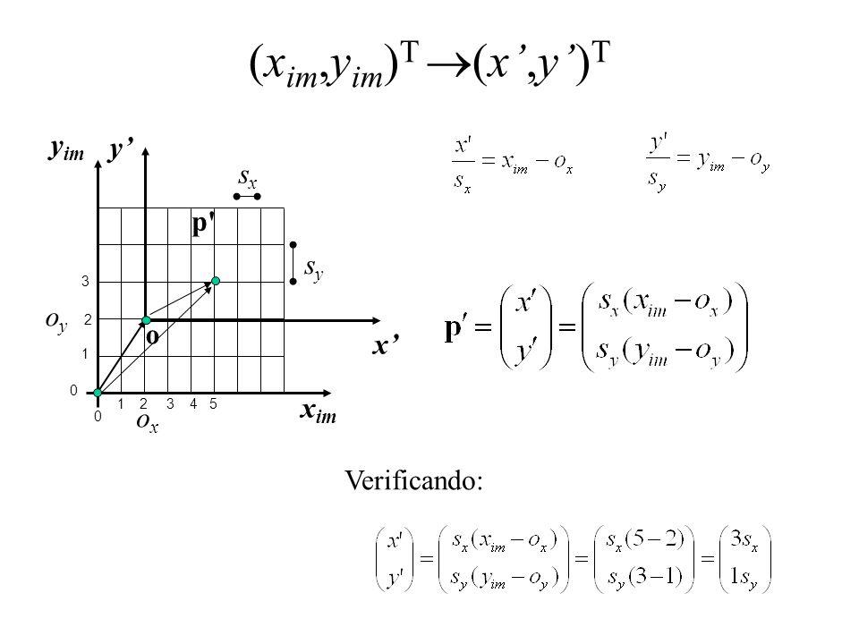(xim,yim)T (x',y')T yim y' x' xim sx p sy oy o ox Verificando: 3 2 1