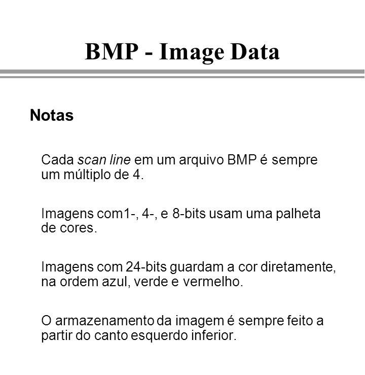 Imagens BMP - Image Data. Notas. Cada scan line em um arquivo BMP é sempre um múltiplo de 4.