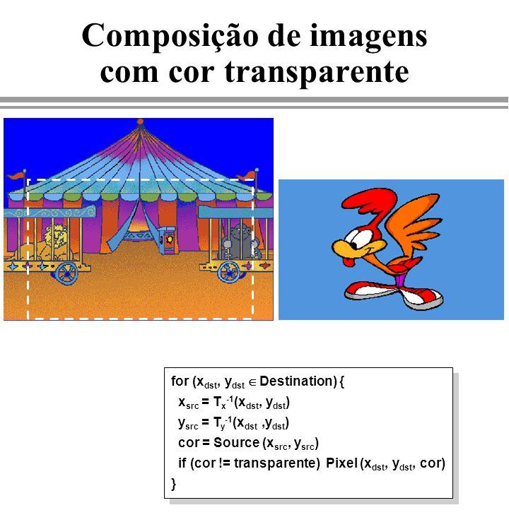 Composição de imagens com cor transparente