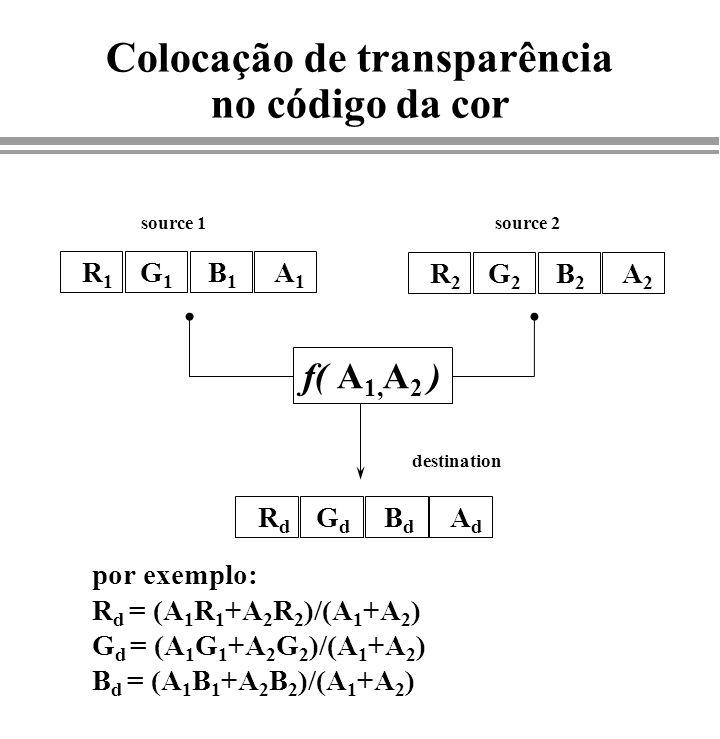 Colocação de transparência no código da cor