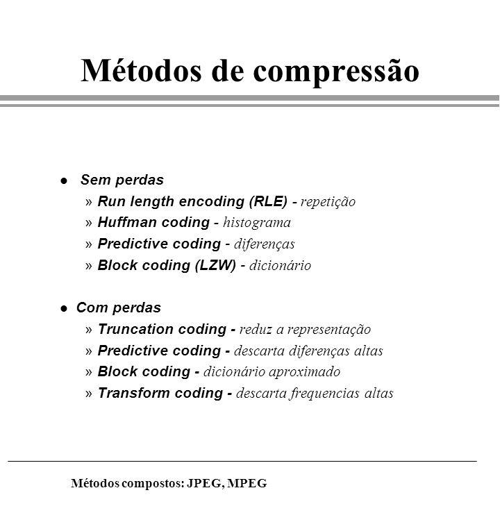 Métodos de compressão Sem perdas Run length encoding (RLE) - repetição