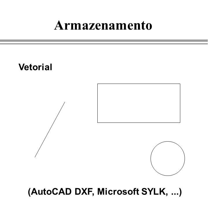 Armazenamento Vetorial (AutoCAD DXF, Microsoft SYLK, ...) Luz e Cor
