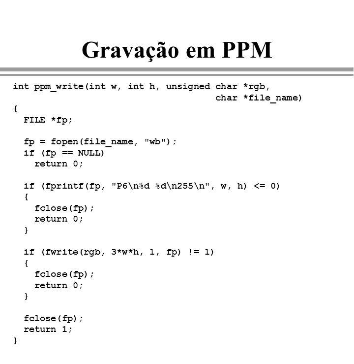 Gravação em PPM int ppm_write(int w, int h, unsigned char *rgb,