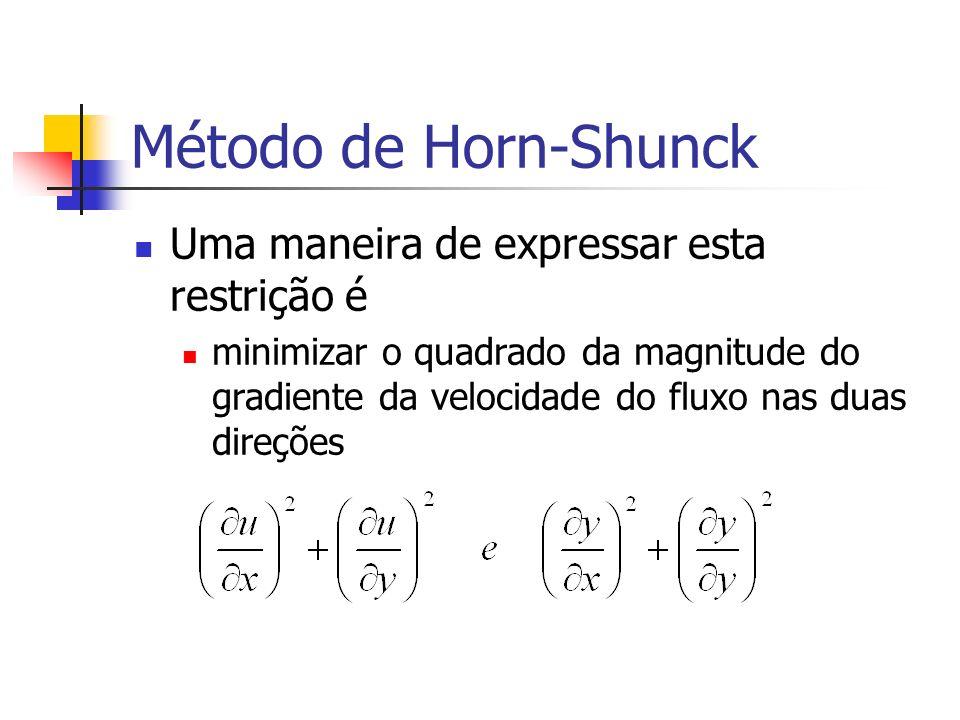 Método de Horn-Shunck Uma maneira de expressar esta restrição é
