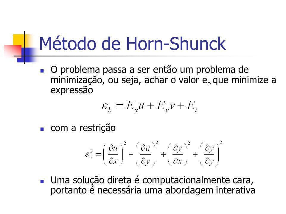 Método de Horn-Shunck O problema passa a ser então um problema de minimização, ou seja, achar o valor eb que minimize a expressão.