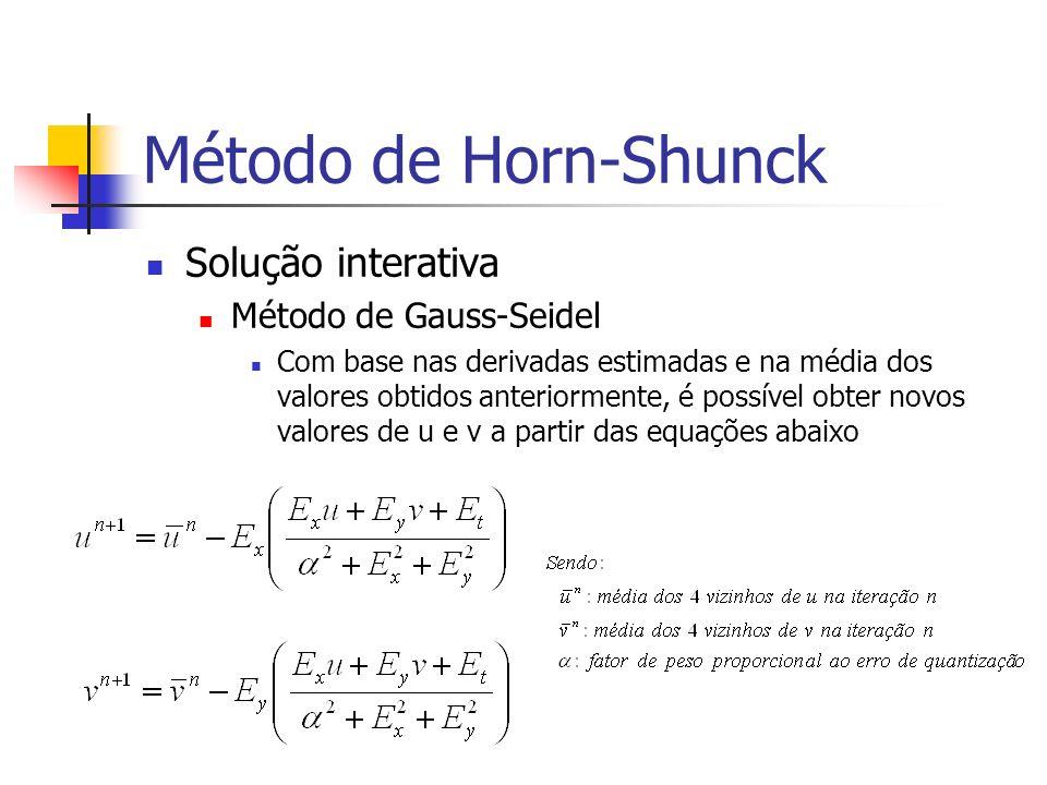 Método de Horn-Shunck Solução interativa Método de Gauss-Seidel