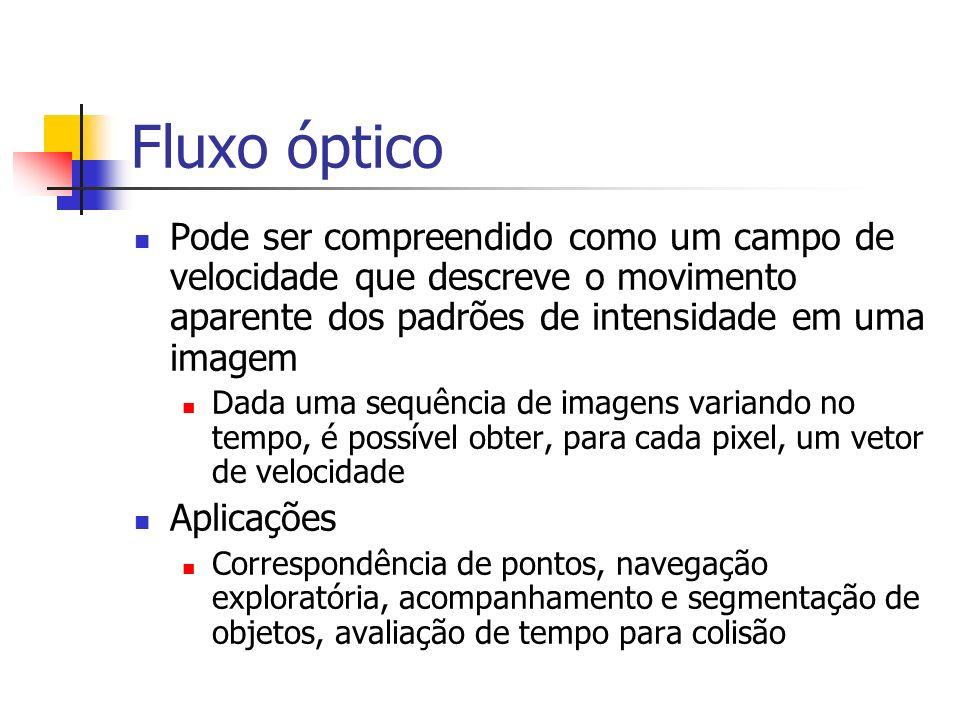Fluxo óptico Pode ser compreendido como um campo de velocidade que descreve o movimento aparente dos padrões de intensidade em uma imagem.
