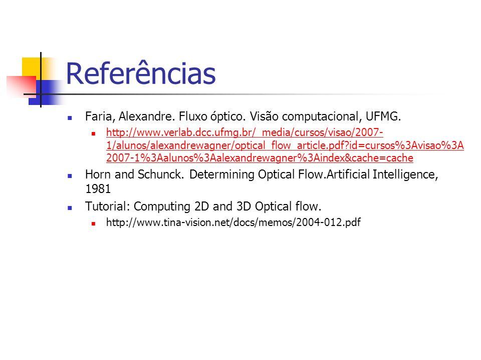 Referências Faria, Alexandre. Fluxo óptico. Visão computacional, UFMG.
