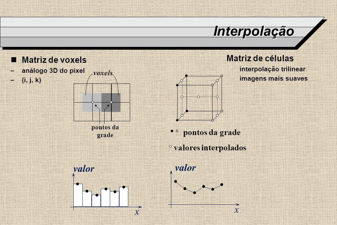Interpolação valor valor x x Matriz de células Matriz de voxels