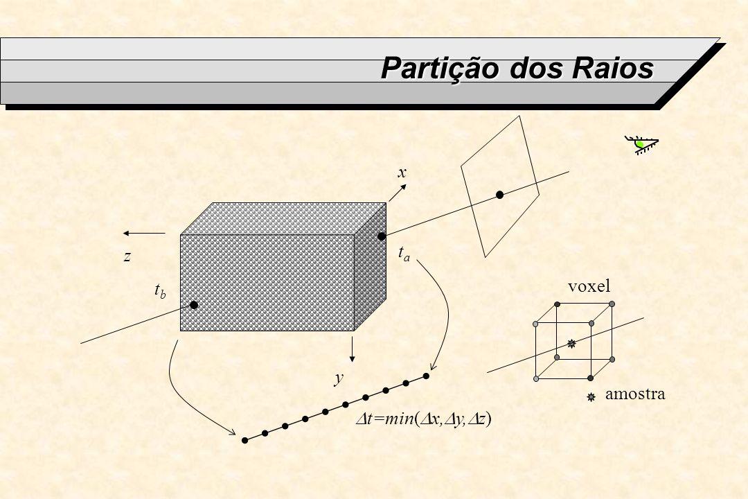 Partição dos Raios x z ta tb voxel y amostra t=min(x,y,z)