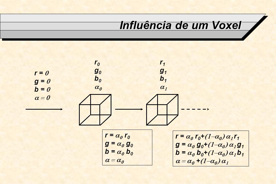 Influência de um Voxel r0 g0 b0 a0 r1 g1 b1 a1 r = 0 g = 0 b = 0 a = 0