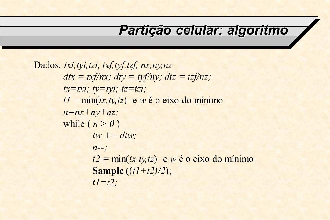 Partição celular: algoritmo