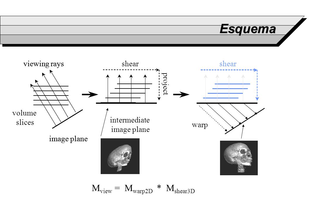 Esquema Mview = Mwarp2D * Mshear3D viewing rays volume slices