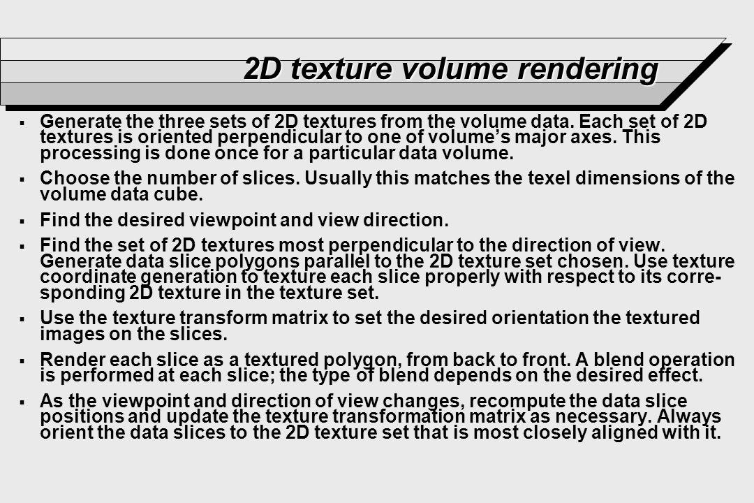 2D texture volume rendering