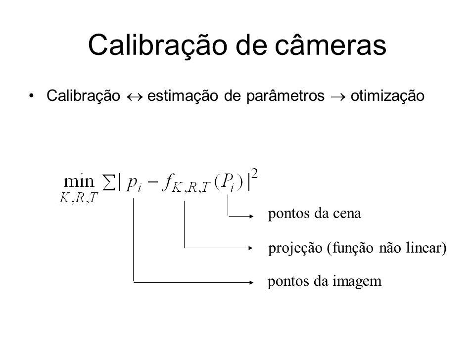 Calibração de câmeras Calibração  estimação de parâmetros  otimização. pontos da cena. projeção (função não linear)