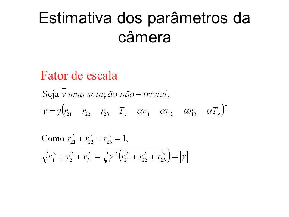 Estimativa dos parâmetros da câmera