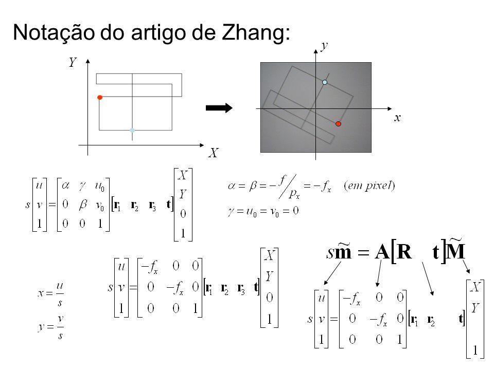 Notação do artigo de Zhang: