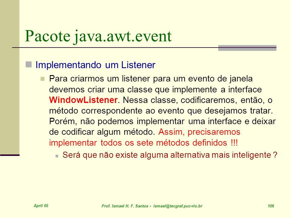 Pacote java.awt.event Implementando um Listener