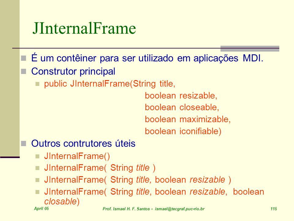 JInternalFrame É um contêiner para ser utilizado em aplicações MDI.