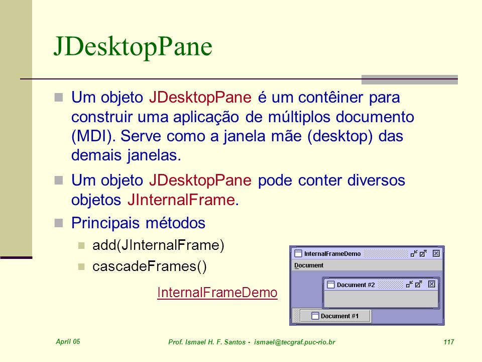 JDesktopPane InternalFrameDemo
