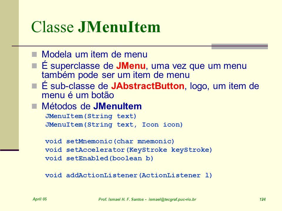 Classe JMenuItem Modela um item de menu