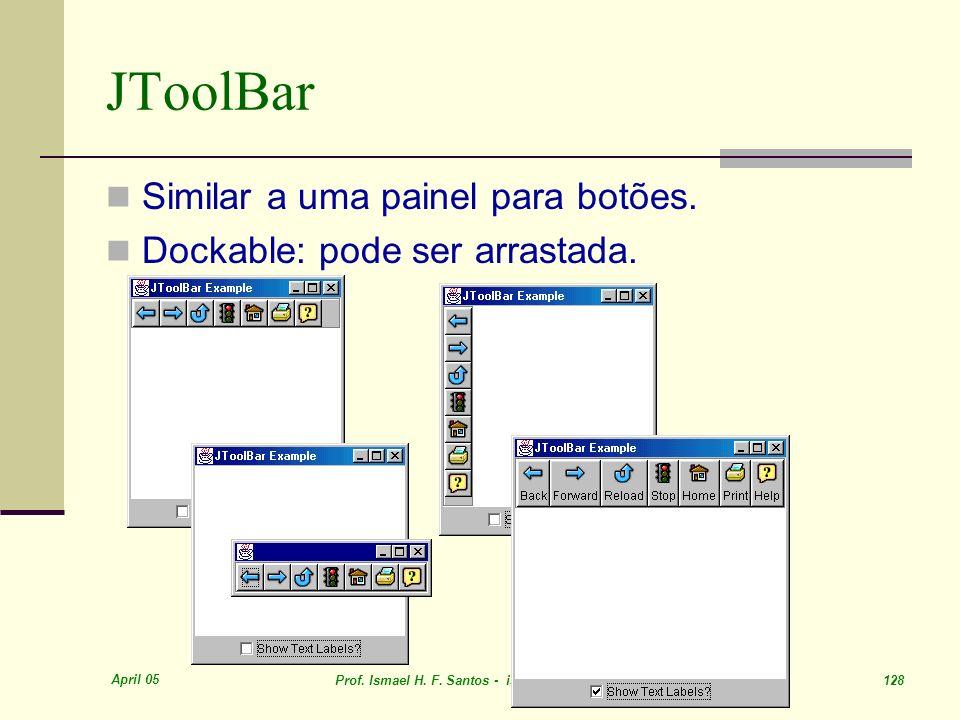 JToolBar Similar a uma painel para botões.