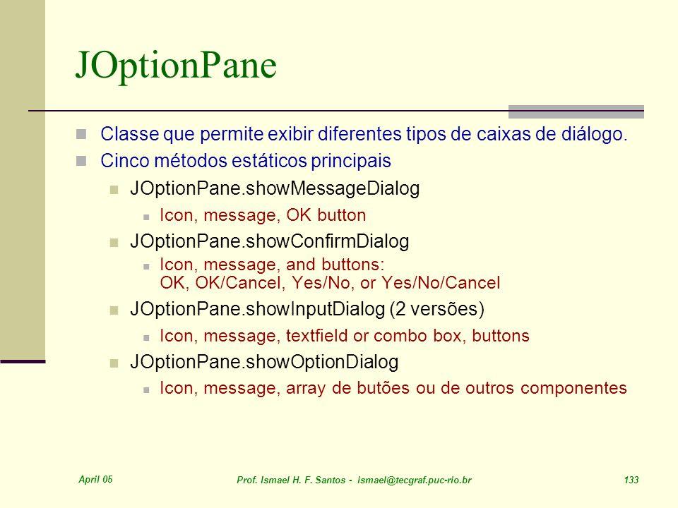 JOptionPane Classe que permite exibir diferentes tipos de caixas de diálogo. Cinco métodos estáticos principais.