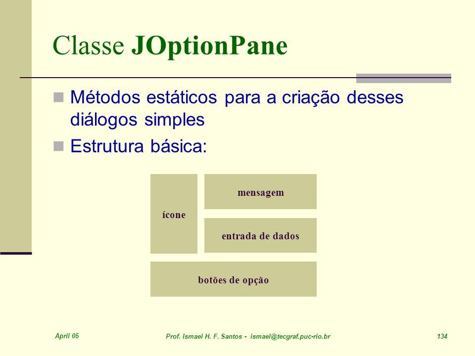 Classe JOptionPane Métodos estáticos para a criação desses diálogos simples. Estrutura básica: ícone.