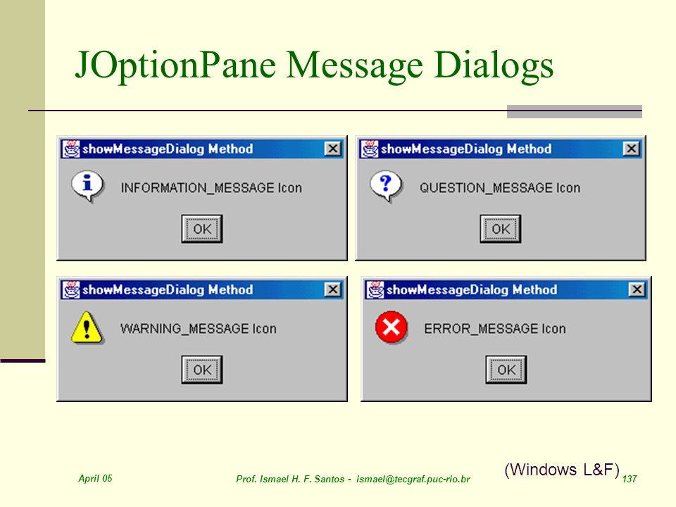 JOptionPane Message Dialogs