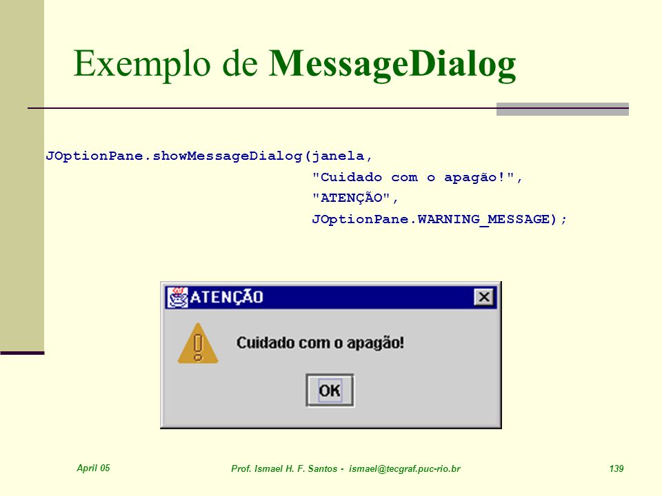 Exemplo de MessageDialog