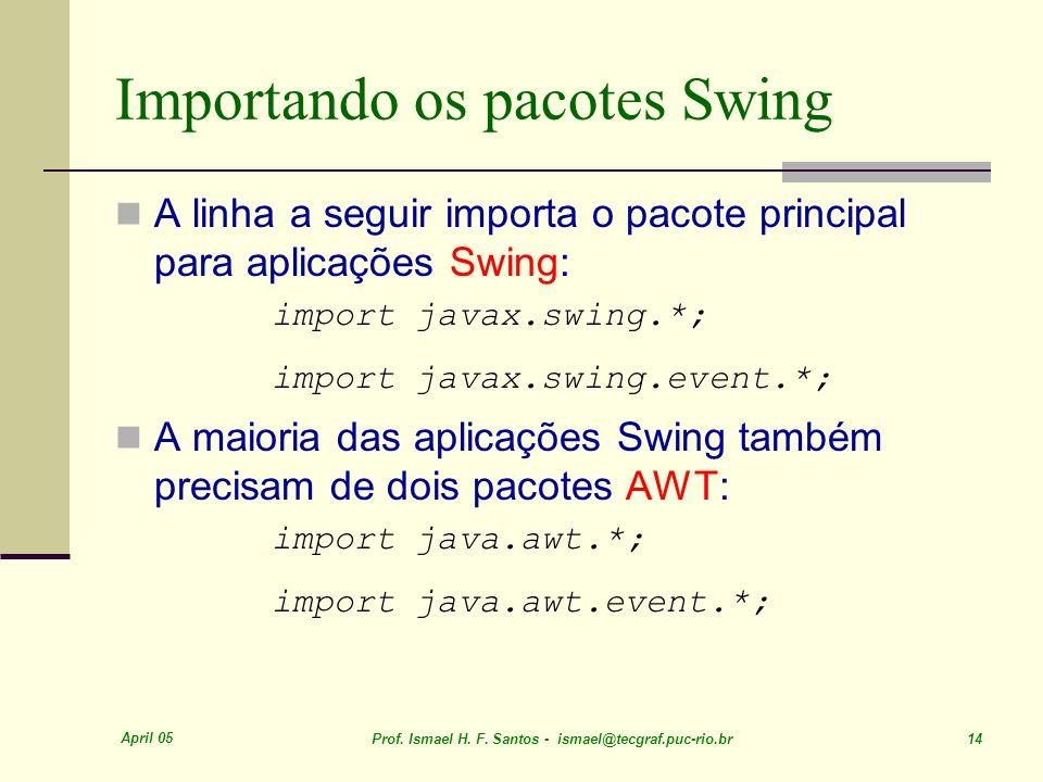 Importando os pacotes Swing