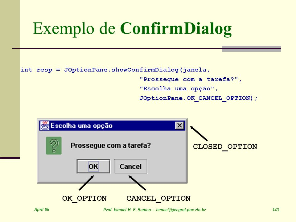 Exemplo de ConfirmDialog