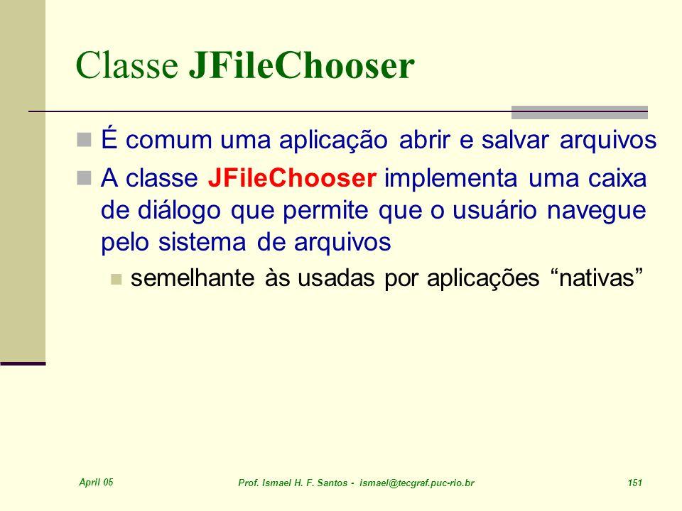 Classe JFileChooser É comum uma aplicação abrir e salvar arquivos