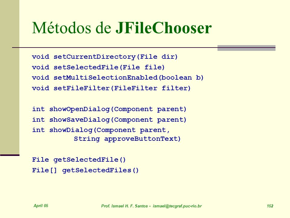Métodos de JFileChooser