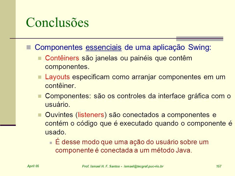 Conclusões Componentes essenciais de uma aplicação Swing: