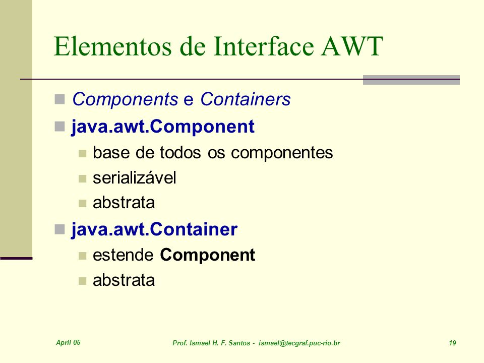 Elementos de Interface AWT