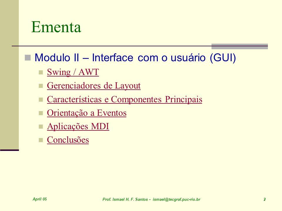 Ementa Modulo II – Interface com o usuário (GUI) Swing / AWT