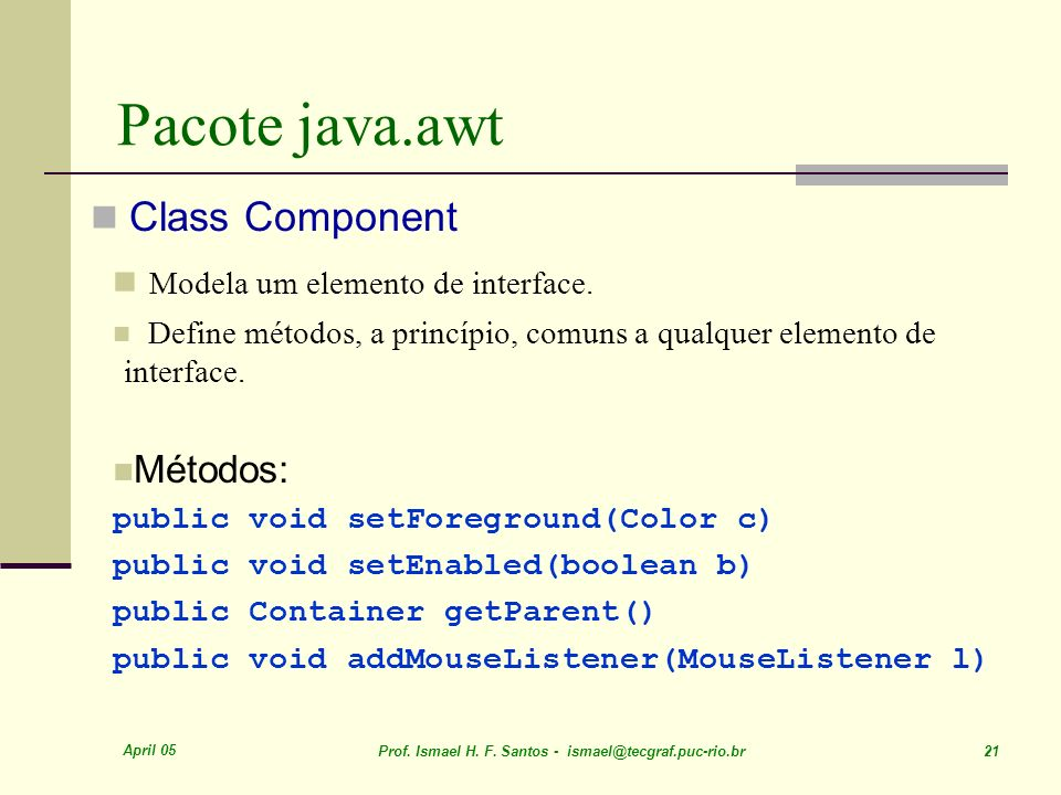 Pacote java.awt Modela um elemento de interface. Class Component