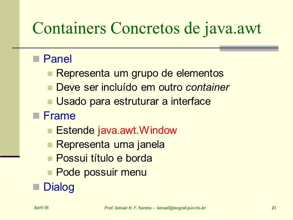 Containers Concretos de java.awt